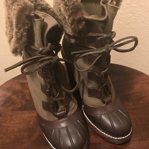 Tory Burch Faux fur ankle wedge boots